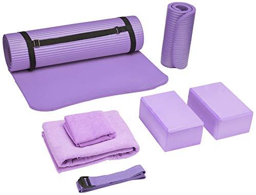 "BalanceFrom GoYoga 7-Piece Set - Include Yoga Mat with Carrying Strap, 2 Yoga Blocks, Yoga Mat Towel, Yoga Hand Towel, Yoga Strap and Yoga Knee Pad (Purple, 1/2""-Thick Mat)"