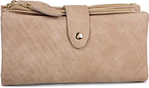 styleBREAKER Damen Portemonnaie mit V-Förmig geprägter Struktur, Druckknopf, Reißverschluss Geldbörse 02040124, Farbe:Beige