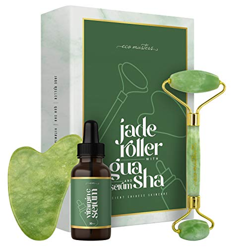 Jade Roller mit Vitamin C Serum & Gua Sha - Massage gegen Augenringe & Falten - Anti Aging Pflege Set mit Premium Gesichtsroller - 100% Jade Stein Beauty Rolle für Gesicht - Massagegerät