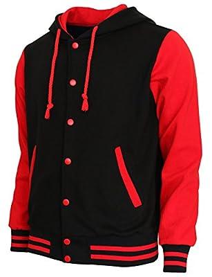 BCPOLO Hoodie Baseball Jacket Varsity Baseball Jacket Cotton Letterman Jacket Black-Red-M by