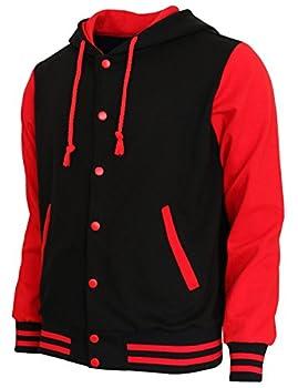 BCPOLO Hoodie Baseball Jacket Varsity Baseball Jacket Cotton Letterman Jacket Black-Red US Large Asian XL