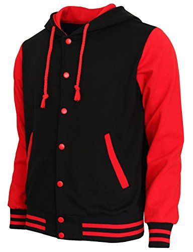 BCPOLO Hoodie Baseball Jacket Varsity Baseball Jacket Cotton Letterman Jacket Black-Red-S