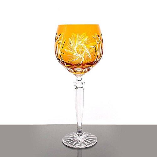 Weinglas Weinkelch Römer Glas Schleuderstern 250 ml Gelb Handgeschliffen Kristallglas