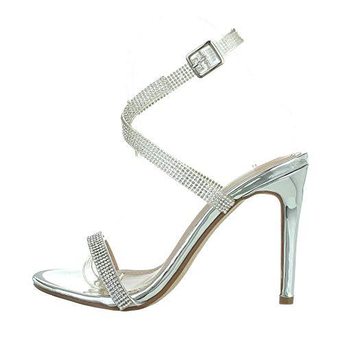 Ital-Design Damenschuhe Sandalen & Sandaletten High-Heel Sandaletten, XK-0188-, Synthetik, Silber, Gr. 39