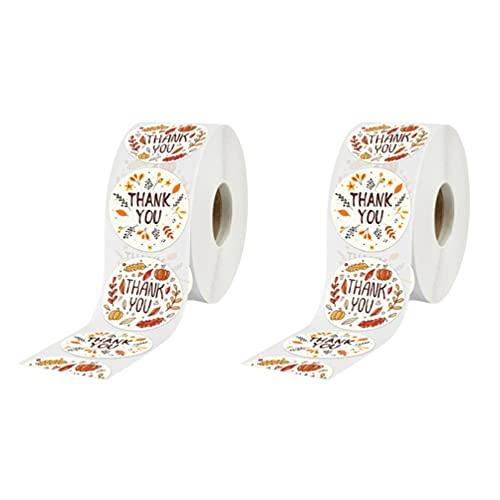 STOBOK 2Pcs Obrigado Etiquetas Adesivas Redondas Grandes Papéis Adesivo Rolo De Papel Decorações de Presente para Empresa de Pequeno Porte Embalagem Mailer Selo