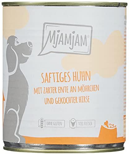 MjAMjAM - Premium Nassfutter für Hunde - saftiges Huhn mit zarter Ente an Möhrchen und gekochter Hirse, 6er Pack (6 x 800 g), getreidefrei mit extra viel Fleisch