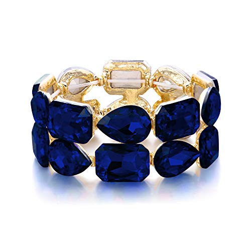 EVER FAITH Rhinestone Crystal Wedding 2 Layerd Wide Stretch Bracelet for Women Girls Blue Gold-Tone