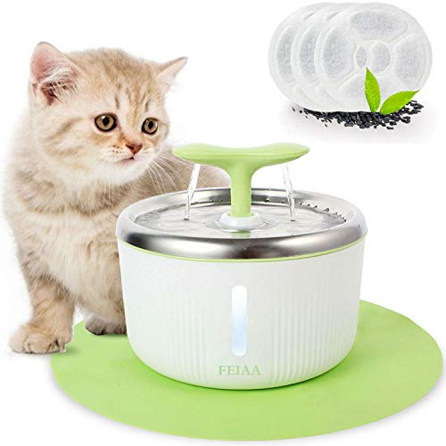 FEIAA Cat Water Fountain Stainless Steel Top Pet Waterfall Dispenser 2L/67oz Automatic Kitty Dog Drinking Fountains Bowl with LED Indicator