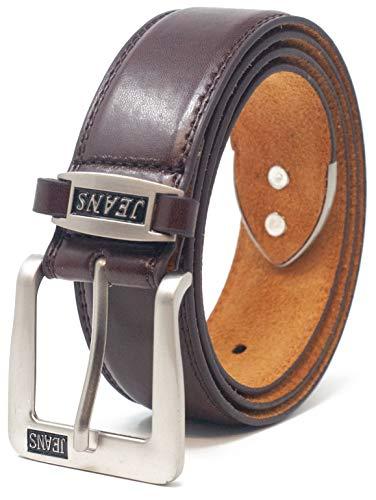 Ossi - Cinturón para hombre (38 mm, con forro de piel auténtica)