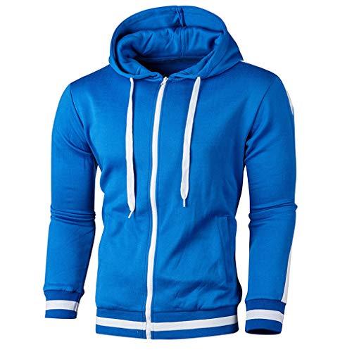 Skxinn Herren Sweatjacke Kapuzenjacke,Männer Herbst Winter Langarm Patchwork Hoodie Oberteile mit Reißverschluss,Streetwear Sweatshirts Mantel Slim Fit Jacke Tops Ausverkauf(Blau,Medium)