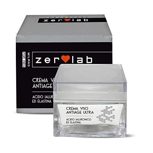 Zerolab Crema Viso Antirughe Uomo Acido Ialuronico Antiage Super Strong Idratante Made in Italy