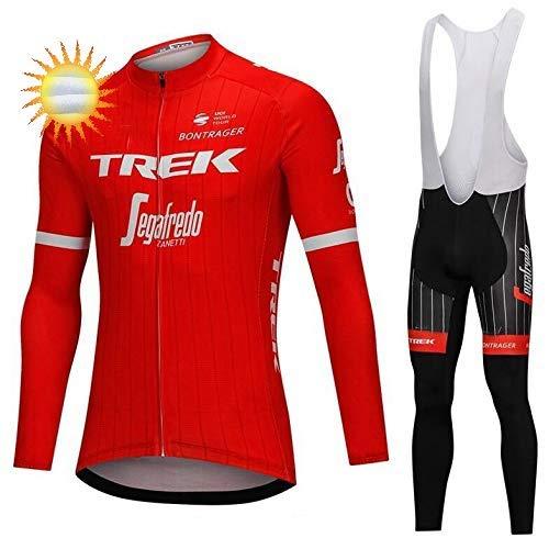 XIAKE Completo Abbigliamento Ciclismo da Uomo, Uomo Invernale Maglia/Giacca Ciclismo Maniche Lunghe + Pantaloni da Ciclismo Lunghi con Cuscini Imbottiti 5D
