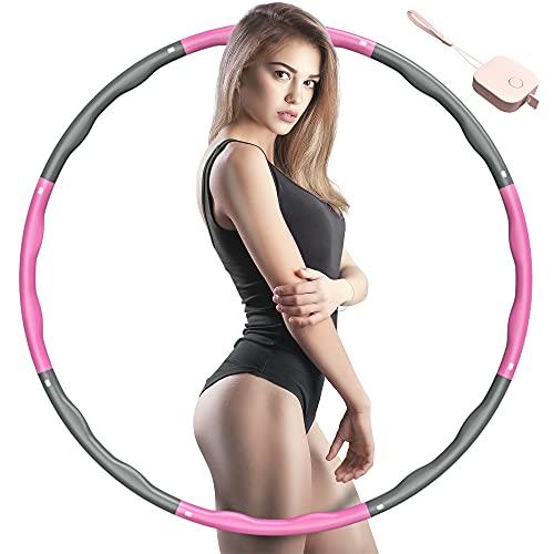 SOCLL Hula Reifen für Erwachsene, 8 Abnehmbare Abschnitte Reifen Geeignet für Erwachsene und Kinder, Rings für Fitness zur Bauchformung Zuhause Büro, Pink