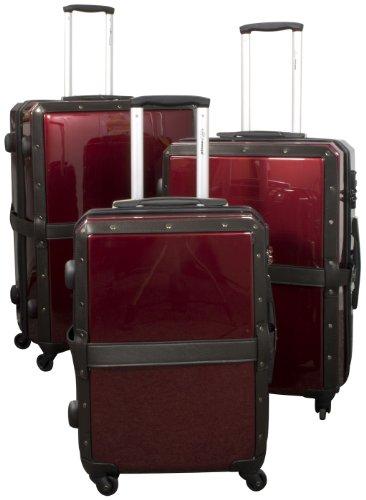 Dogs Stars Set di valigie da Viaggio in Mogano, 3 Pezzi, Look nostalgico, Colore Nero o Rosso Vinaccia