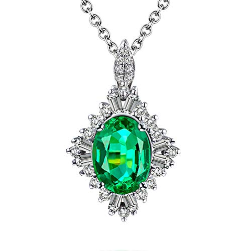 Daesar Collar Oro Blanco 18 Kilates Mujer,Oval Esmeralda Verde 0.86ct Diamante 0.41ct,Plata Verde
