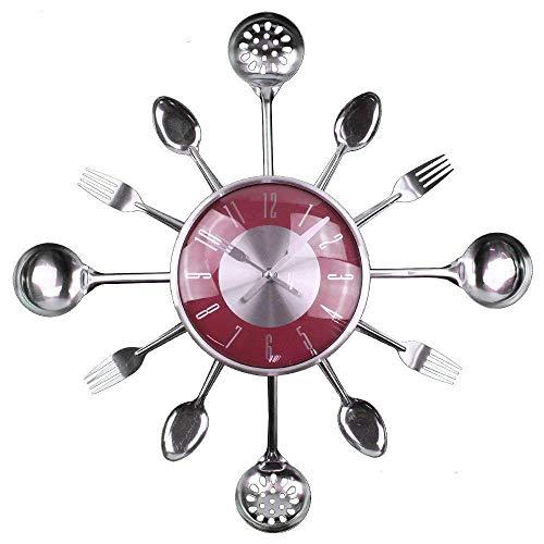 DSDD Reloj de Pared Timelike, Cubiertos de Metal para Cocina, Utensilios, Cuchara, Tenedor, Reloj de Pared, Creativo, Moderno, para decoración del hogar, Estilo Antiguo, Reloj de Pared para ofici
