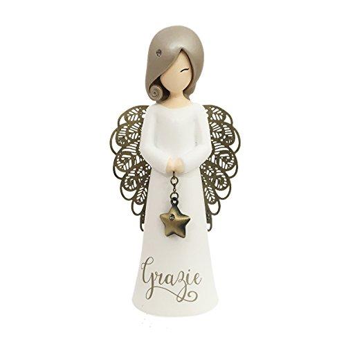 You Are An Angel ASF004I Figurina Angelo, Ceramica, Bianco, 12.5 cm