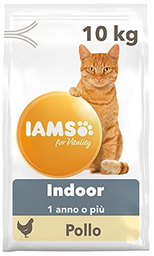 IAMS for Vitality Indoor, Alimento Secco per Gatti Adulti e Anziani da Appartamento con Pollo Fresco, 10 kg