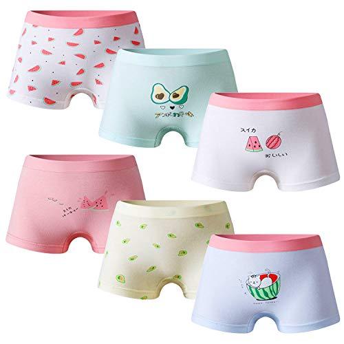 Growth Pal Girls' Panties Boyshort Briefs 6 Pack Soft 100% Cotton Underwear Toddler Undies for Girls-PJ12-120#