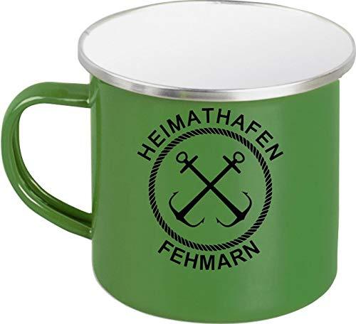Shirtinstyle Emaille Kaffeepott Tasse Heimathafen Fehmarn Anker, Kaffeetasse Becher Retro Camping, Farbe Grün