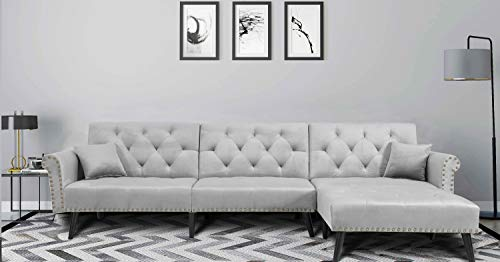 Danxee Sofa Bed Set Sectional Sofa L Shape Sectional Couch Sleeper Couch Bed Modern Style Velvet Sleeper Futon Sofa with Extra Wide Chaise Lounge (Light Grey)