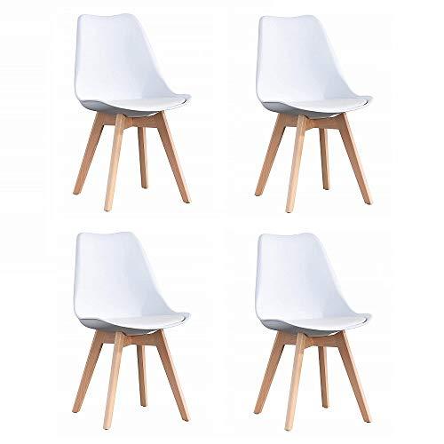 ArtDesign FR Tulip sillas de Comedor Moderno, Juego de 4, Asiento Acolchado Suave, Patas de Madera Maciza de Haya Natural, Respaldo de Forma ergonómica (Tulipán-Blanco)