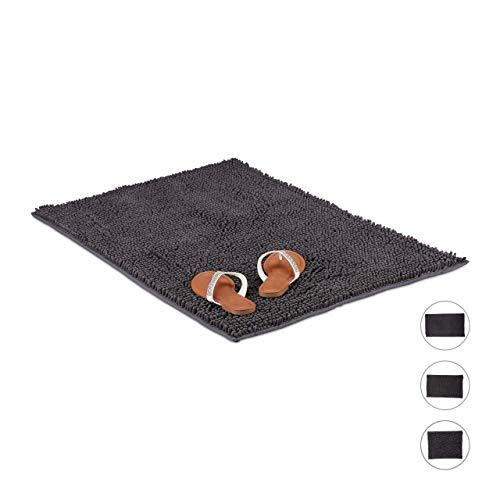 Relaxdays Badmat microvezel Shaggy, zachte en waterabsorberende badmat, antislip, BxD: 60 x 100 cm, grijs