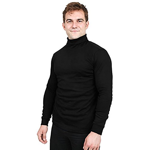 Utopia Wear Special Comfort Fit Turtleneck T-Shirt - Premium Cotton Blend Fabric - Long Sleeves - Machine Washable and Ultra Comfortable - Attractive and Trendy, Large (Black)
