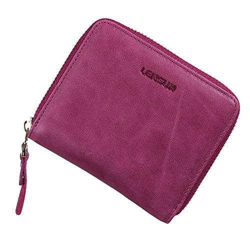 Geldbörse Damen Klein, LENSUN Leder Mini Münze Portmonee mit Reißverschluss um Kartenfächer Brieftasche für Frauen - Violett