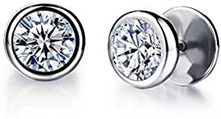 PK-325SR Fashionable Stainless Steel with Round Cubic Zirconia Stud Earring for Men