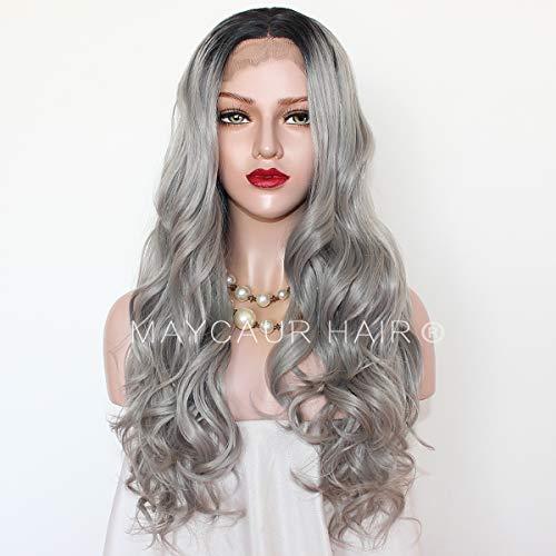Maycaur 180 Densité Gris ondulés synthétique Lace Front Perruques Noir Gris Couleur Ombre naturelle des Perruques Big Wave Cheveux Hairline
