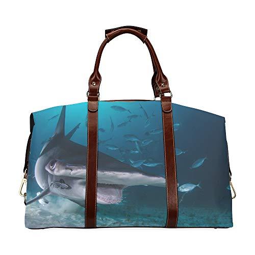 Herren Reisetasche Travel Hammerhead Shark Schwimmen unter Tauchern Offene Klassische Übergroße wasserdichte Pu Leder Boy Weekend Bag Camping Reisetasche