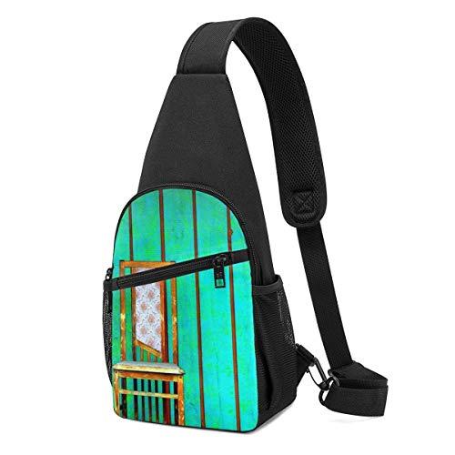 AOOEDM Schultertaschen für Frauen Crossbody Rucksack Stühle Green Shoulder Daypacks Reißfeste Running Wrinkle Resistance Fanny Chest Packs