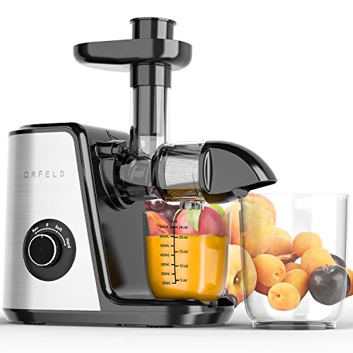 Juicer Machines, Orfeld Slow Masticating Juicer, 7 Segment Spiral for Higher Juice Yield, Cold Press Juicer Easy to Clean, Quiet motor&BPA-Free, Reverse Button&2 Speed Modes for Fruits and Vegetables