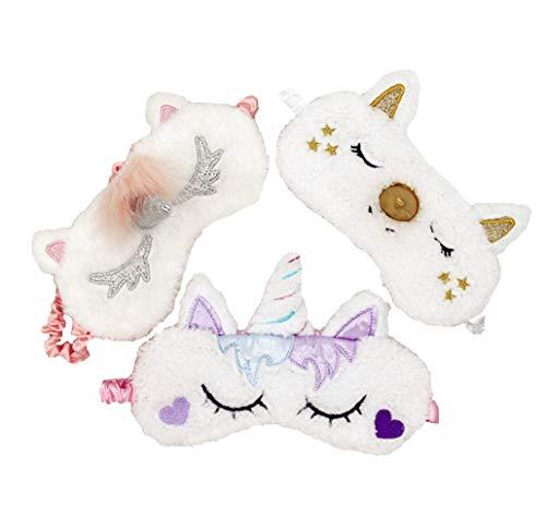 [3 Pack] MicroBird Unicorn Sleeping Mask Cute Unicorn, Blindfold Eyeshade for Kids and Women