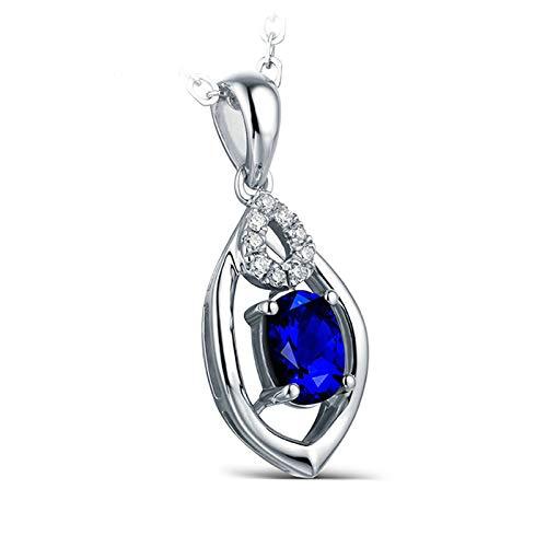 ANAZOZ Collier Or Blanc 18 Carats, Saphir Royal 3.3ct Diamant Goutte d'eau Mariage Femme Fantaisie