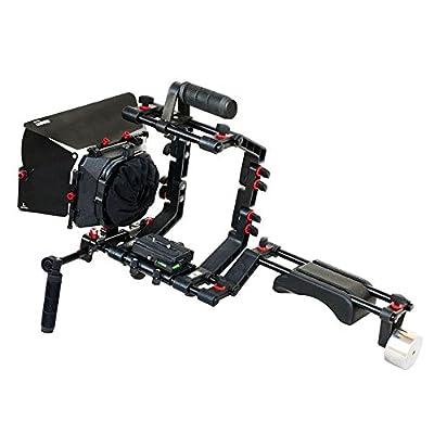 FILMCITY DSLR Camera Shoulder Support Rig Kit with Cage & Matte Box   DV HDV DSLR Video Camcorders Compatible   Free - Offset Z Bracket (FC-02)