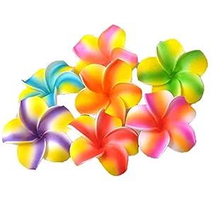 JONJUMP 35 Pcs Plumeria Hawaiian Foam Frangipani Artificial Flower for Wedding Party Decoration 7cm