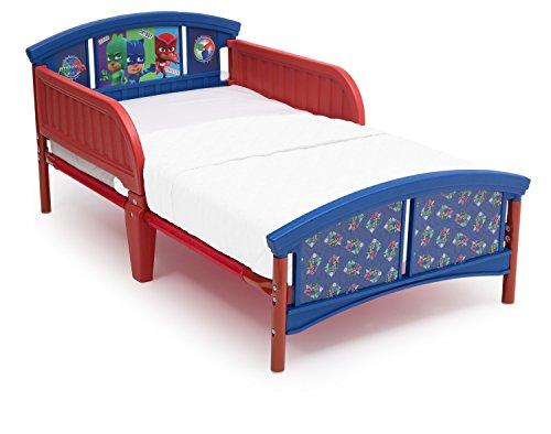 Delta Children Plastic Toddler Bed, PJ Masks + Delta Children Twinkle Galaxy Dual Sided Recycled Fiber Core Toddler Mattress (Bundle)