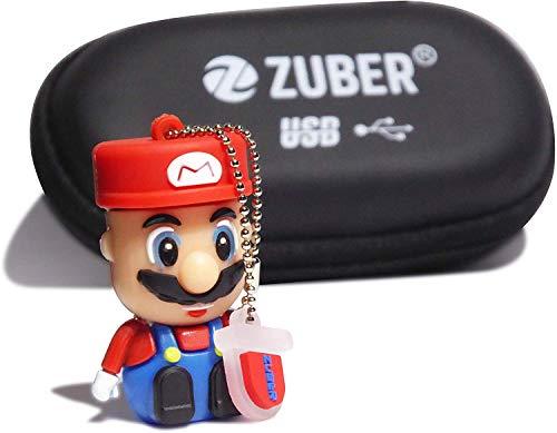 ZUBER® Mario Mini Novelty USB Flash Drive Key Pen Drive Memory Stick 4GB/8GB/16GB/32GB/64GB/128GB/256GB/1TB/2TB in 2.0, 3.0 & 3.1 Snelle gegevensoverdracht Draagbare veilige creatieve gegevensopslag USB geweldig cadeau idee UK, 256GB 3.0