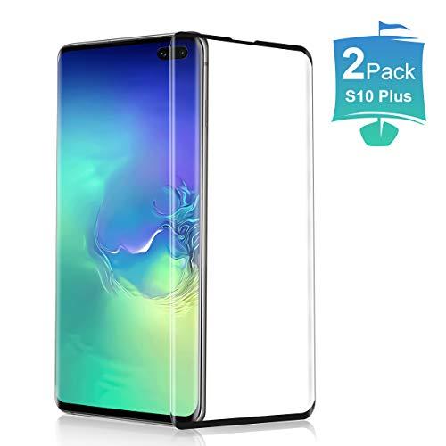 [2 Piezas] Cristal Templado para Samsung Galaxy S10 Plus, 3D Cobertura Completa Protector de Pantalla Fácil de Instalar Sin Burbujas 9H Dureza Anti arañazos Vidrio Templado para Galaxy S10+ - Negro