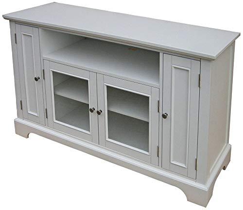 Home Styles Naples White Entertainment Credenza with Storage Area, Adjustable Shelf, Open Storage Area