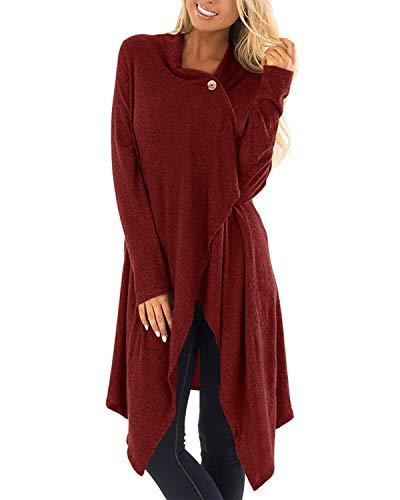 ZANZEA Donna Felpe Manica Lunga Asimmetrico Maglia Casual Eleganti Cardigan Maglioni Vestiti X-01 Rosso Vino S