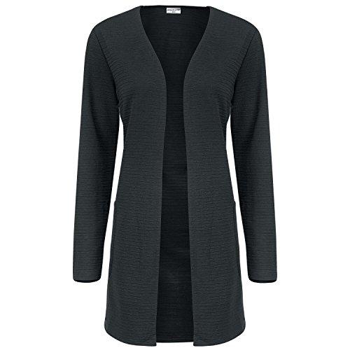 JACQUELINE de YONG Damen Sweat Cardigan, Farbe:dunkelgrau;Größe:L