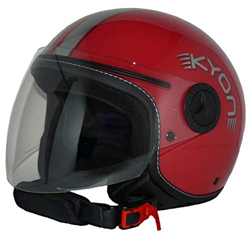 Protectwear H730-RT Casco Abierto con Facial con Visera Larga H730-RT-L, Hombre, Rojo, L ✅