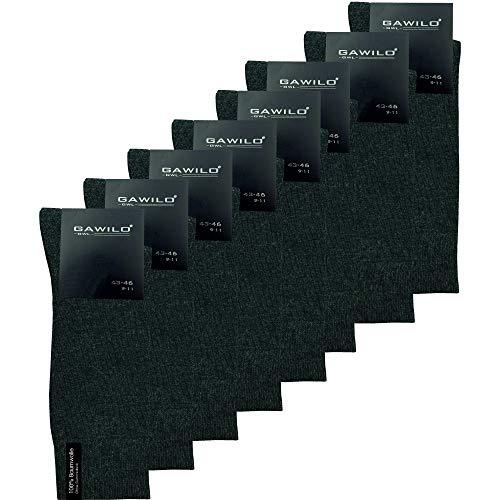 GAWILO Herren Socken aus 100prozent Baumwolle (8er-Pack) ohne drückende Naht - Komfortb& (39-42, anthrazit)
