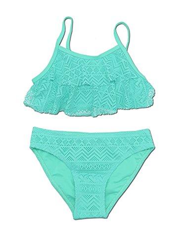 SHEKINI Mädchen Zweiteiler Bikini Badeanzug Teenager Bademode Spitze Schwimmanzug Tankini Set (10-12Year/146-152cm, Grün)