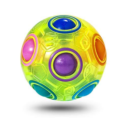ROXENDA Regenbogenball, Puzzle Zauberball mit 11 Kugeln Rainbow Ball Geschicklichkeitsspiel - Brain Teaser & Stress Ball für Kinder und Erwachsene (Grün)