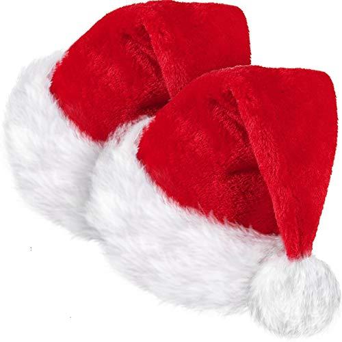 SATINIOR 2 Piezas de Gorro de Papá Noel de Navidad de Tela de Terciopelo Unisex, Gorro de Papá Noel con Forro Cómodo y Borde de Felpa Rojo para Fiesta de Adultos Año Nuevo Día de Navidad