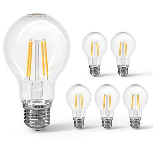 Aigostar - Bombilla LED E27 con Filamento, 8W (equivalente a 69W), 950 lúmenes, blanco cálido (2700 K), ángulo de apertura: 360°. No regulable. Pack de 5 uds